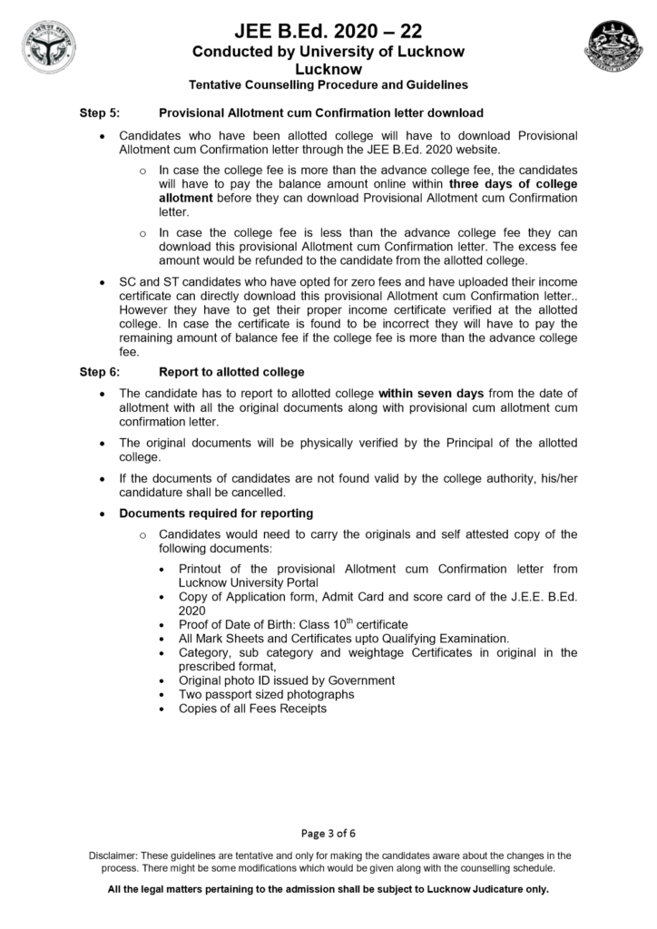 up bed counselling documents required